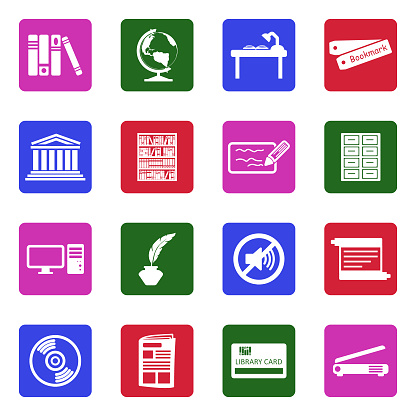 Library Icons. White Flat Design In Square. Vector Illustration.
