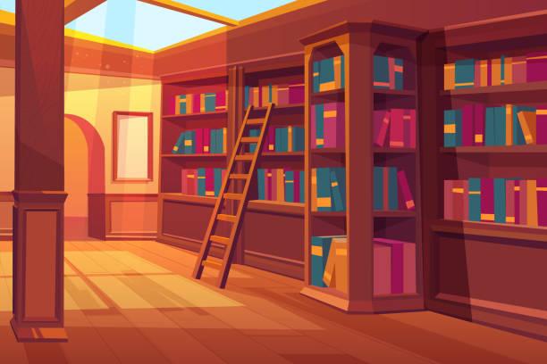 Library interior empty room for books reading vector art illustration