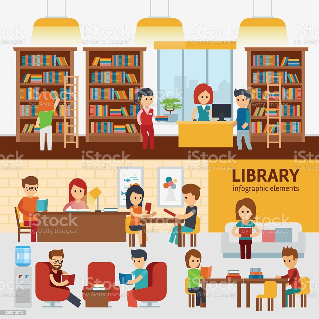 Library interior with people, reading books infographic elements. vector art illustration