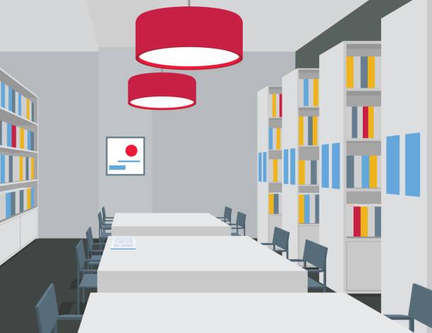 bibliothek-einrichtung mit tische, stühle, regale, leuchten. perspektivische ansicht. leeren raum. vektor - schultischrenovierung stock-grafiken, -clipart, -cartoons und -symbole