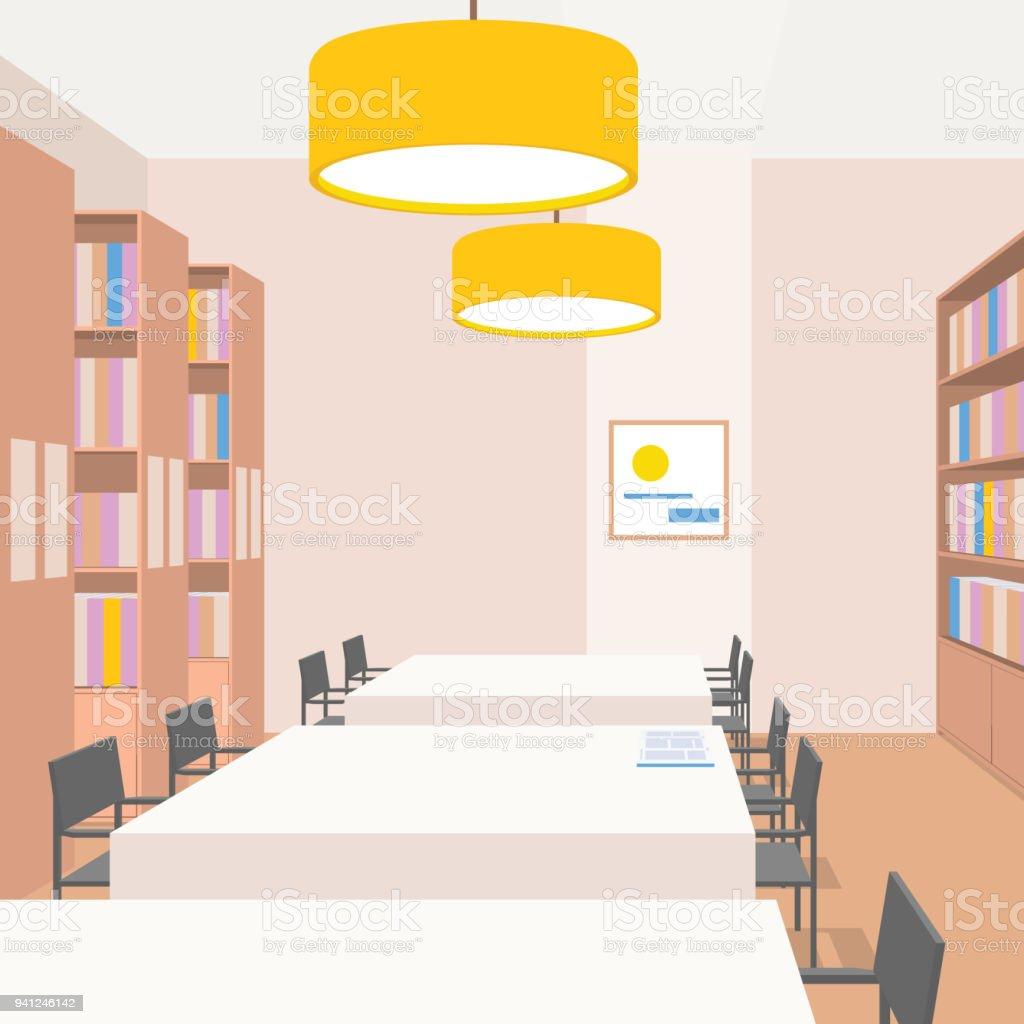Bibliothekeinrichtung Mit Tische Stühle Regale Leuchten ...