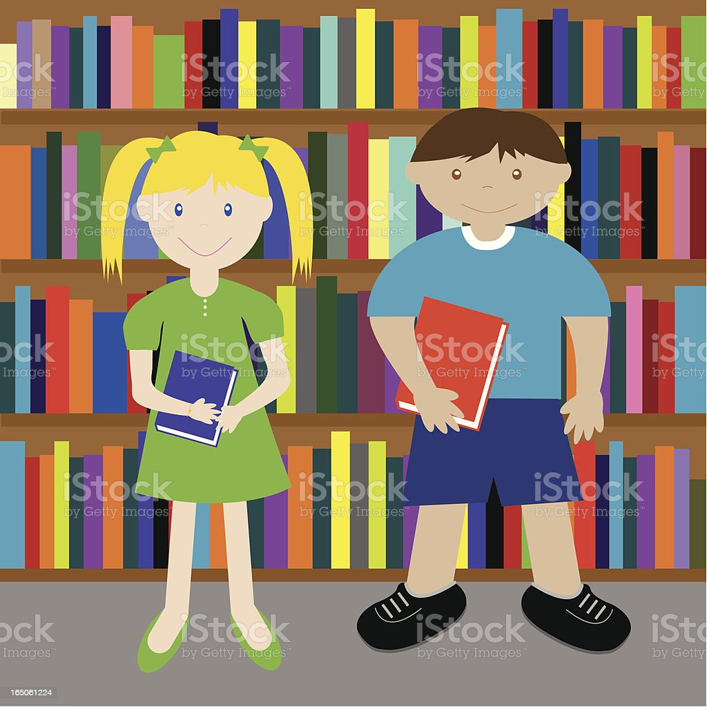 Library Kids vector art illustration