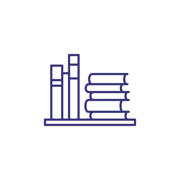 library line icon - book clipart stock illustrations