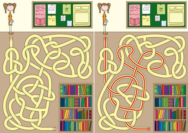 Labirinto de biblioteca - ilustração de arte em vetor