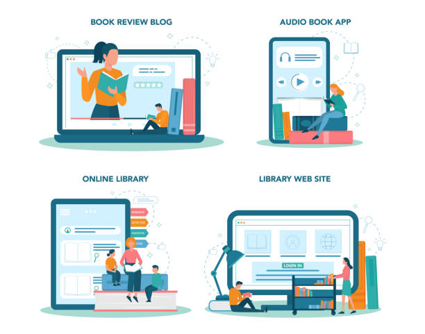 Library online service or platform set. Knowledge and educatiovn idea. Book review video vector art illustration