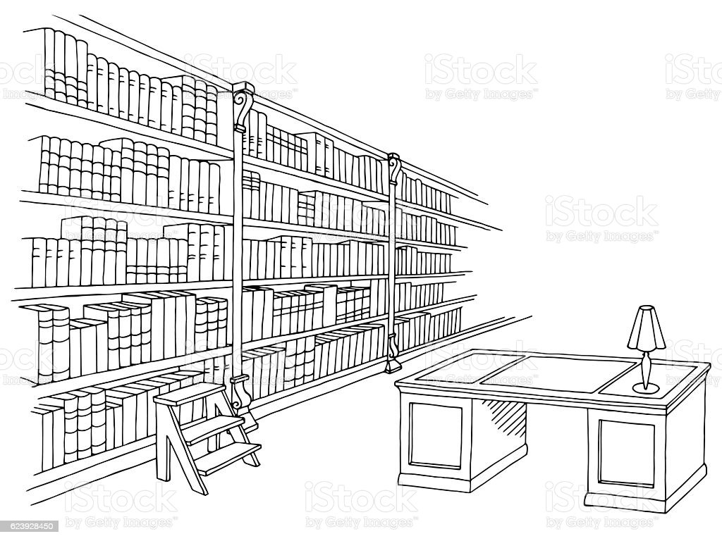 Library room interior black white graphic sketch illustration vector - Illustration vectorielle