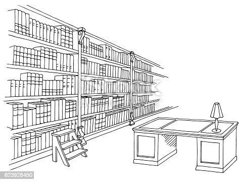 Library Room Interior Black White Graphic Sketch Illustration Vector Gm623928450 109572509