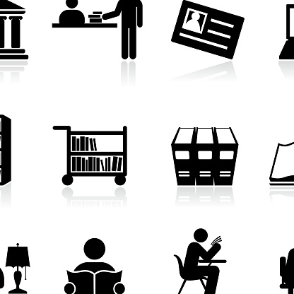 Library school and education black and white vector icon set