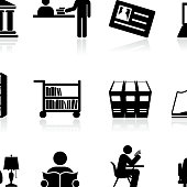 library Back to school black and white icon set