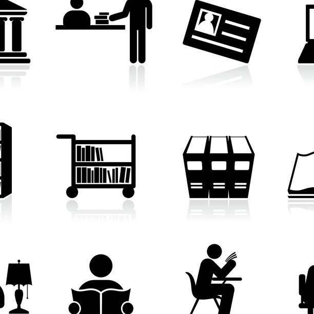 illustrazioni stock, clip art, cartoni animati e icone di tendenza di biblioteca della scuola e istruzione in bianco e nero icona set vettoriale - banchi scuola