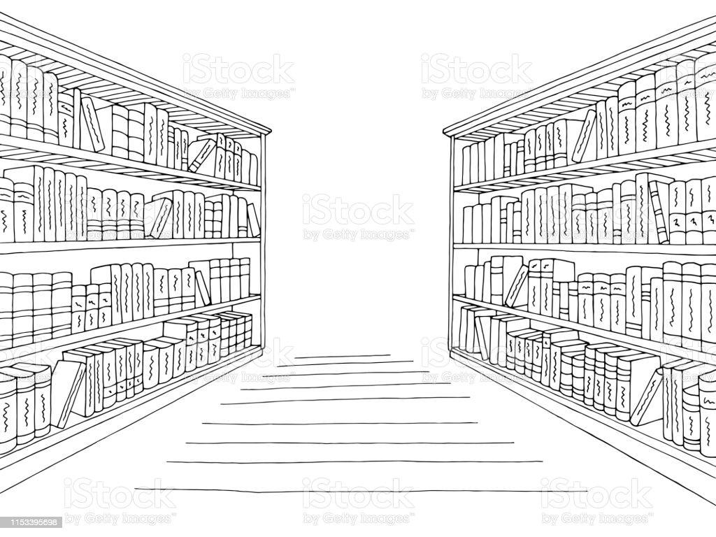 Ilustración De Biblioteca Estante Gráfico De Boceto De