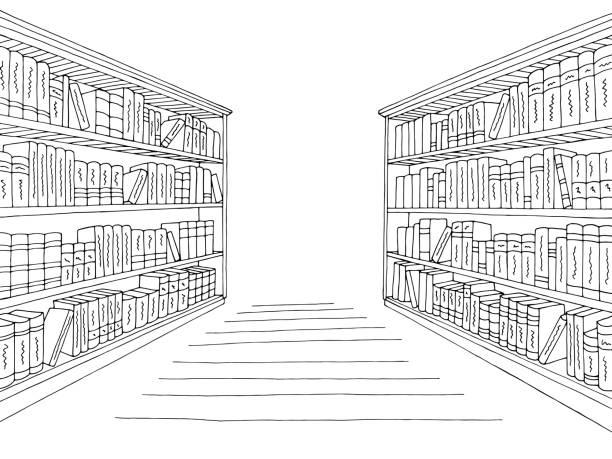 도서관, 선반, 그래픽, 검정, 백색, 인테리어, 밑그림, 삽화 벡터 - 서점 stock illustrations