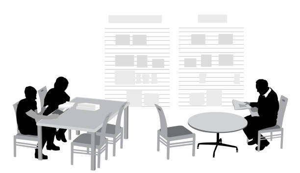 library study and leisure - old man sitting chair clip art stock illustrations, clip art, cartoons, & icons