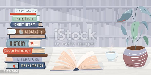 Library vector background. Pile books, open textbook, cup of coffee and plant locate on wooden table. The wall in the back side consists of bookshelves. Graphic elements in trendy flat style.