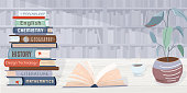 istock Library vector background. Pile books, open textbook, cup of coffee and plant locate on wooden table. The wall in the back side consists of bookshelves. Graphic elements in trendy flat style 1217642566
