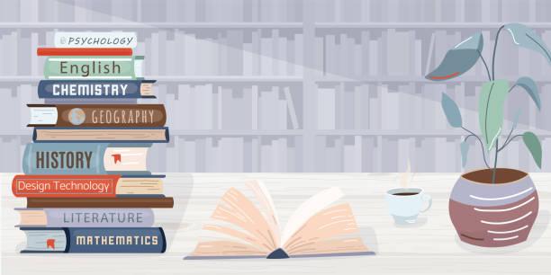라이브러리 벡터 배경입니다. 더미 책, 열린 교과서, 커피 한 잔과 식물은 나무 테이블에 있습니다. 뒤쪽의 벽은 책장으로 구성되어 있습니다. 트렌디 한 플랫 스타일의 그래픽 요소 - 서점 stock illustrations