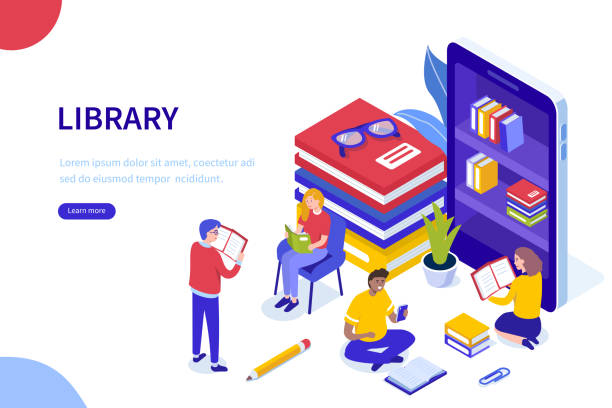library - library stock illustrations
