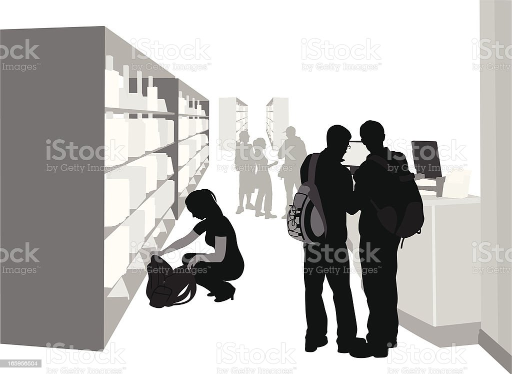 Library'n Students Vector Silhouette royalty-free stock vector art