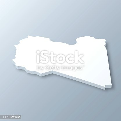 3D map of Libya isolated on a blank and gray background, with a dropshadow. Vector Illustration (EPS10, well layered and grouped). Easy to edit, manipulate, resize or colorize.