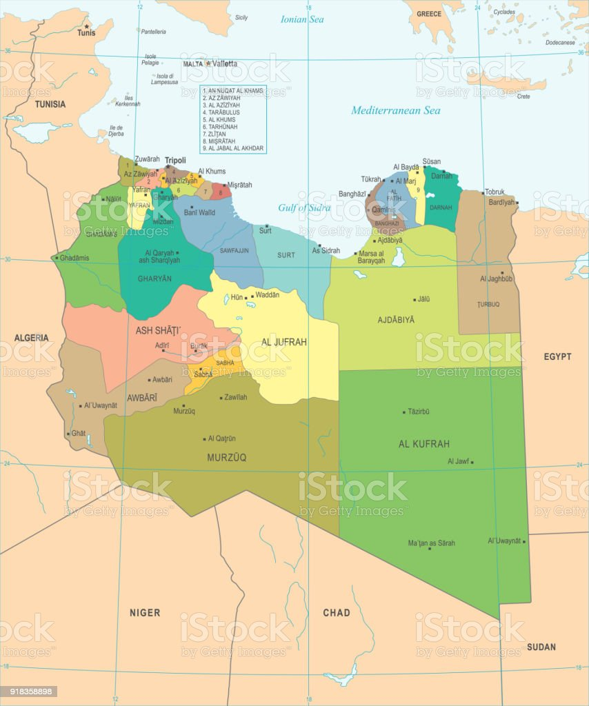 Libya Map Detailed Vector Illustration Stock Vector Art More