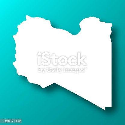 White map of Libya isolated on a trendy color, a blue green background and with a dropshadow. Vector Illustration (EPS10, well layered and grouped). Easy to edit, manipulate, resize or colorize.