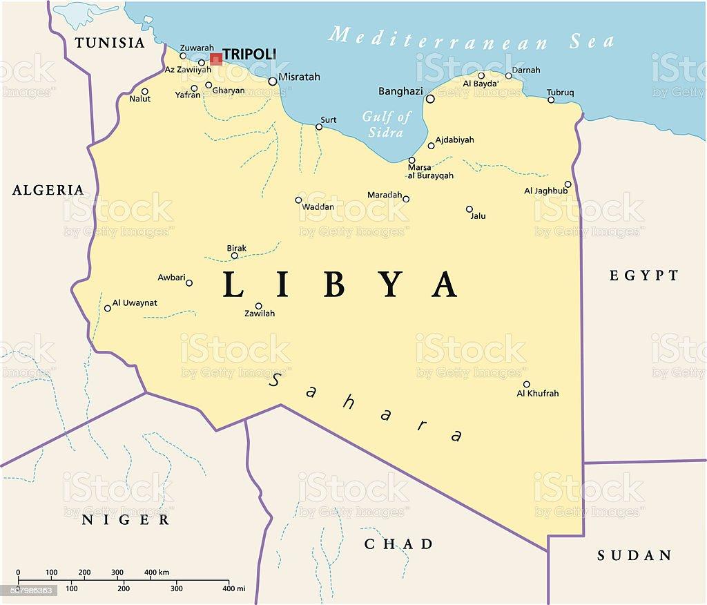 libia mapa Ilustración de Libia Mapa Político y más banco de imágenes de  libia mapa