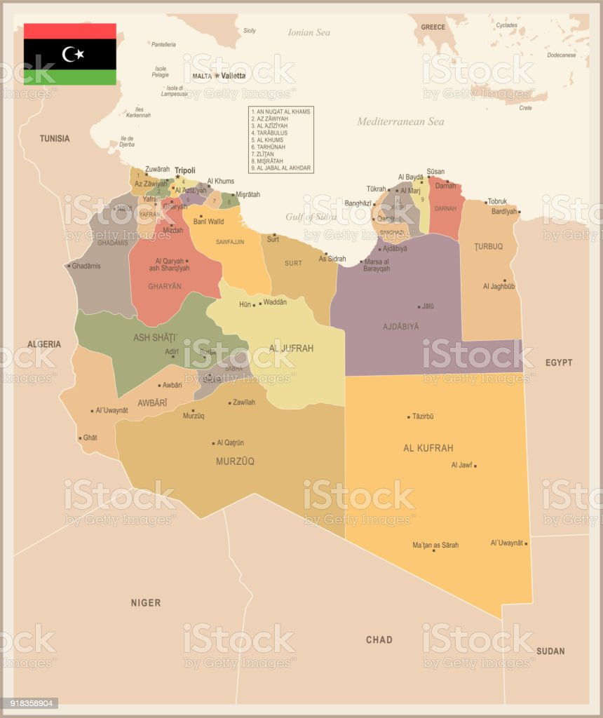 Libya Vintage Map And Flag Detailed Vector Illustration Stock Vector