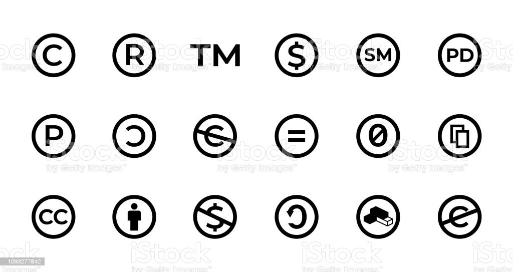 Licence And Copyright Sign Set With Trademark Creative Commons Public Domain And Other Icons Stock Illustration Download Image Now Istock