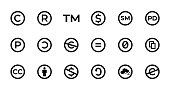Licence and copyright sign set with trademark, creative commons, public domain and other icons