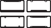 Vector illustrations of four various license plate frames.