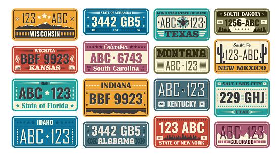 USA license plate set