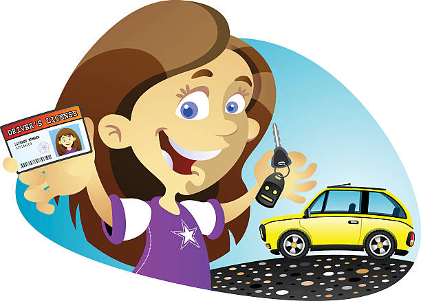 License to drive Girl vector art illustration