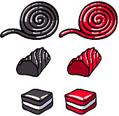 Licorice candies set vector illustration. Roll, stick and layer candy. Hand drawn doodle sketch.