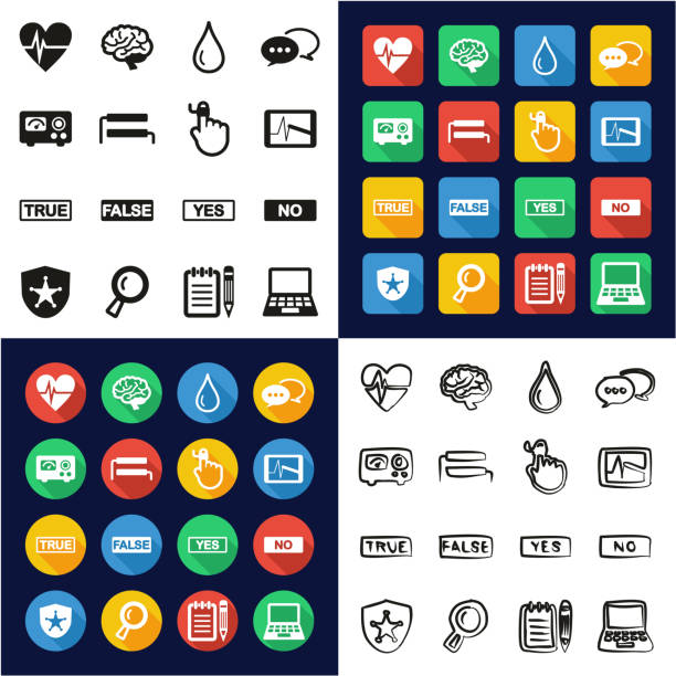 Lie Detector All in One Icons Black & White Color Flat Design Freehand Set This image is a vector illustration and can be scaled to any size without loss of resolution. police interview stock illustrations