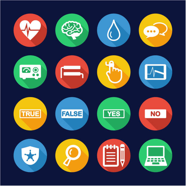 Lie Detector Icons Flat Design Circle This image is a illustration and can be scaled to any size without loss of resolution. police interview stock illustrations