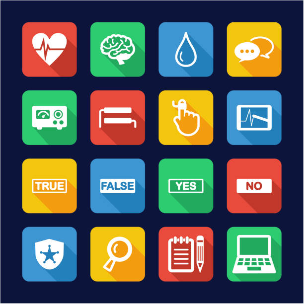 Lie Detector Icons Flat Design This image is a illustration and can be scaled to any size without loss of resolution. police interview stock illustrations