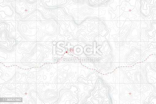 Lie Of The Ground Vector Topographic Detailed Map With Route And Coordinates Abstract Background