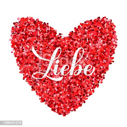 istock Liebe calligraphy hand lettering. Love inscription in German. Valentines day greeting card. Vector template for banner, typography poster, t shirt, logo design, flyer, sticker, etc 1299451576