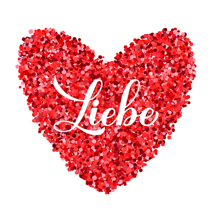Liebe calligraphy hand lettering. Love inscription in German. Valentines day greeting card. Vector template for banner, typography poster, t shirt, logo design, flyer, sticker, etc