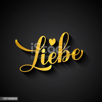 istock Liebe gold calligraphy hand lettering on black background. Love inscription in German. Valentines day typography poster. Vector template for banner, greeting card, flyer, label, etc 1297938933
