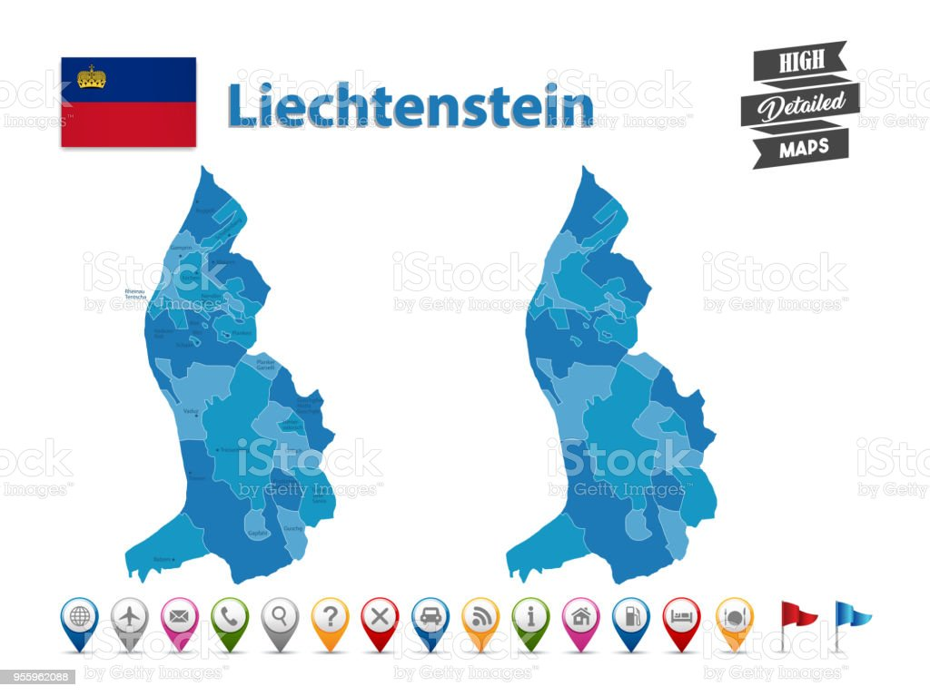 Liechtenstein High Detailed Map With Gps Icon Collection Stock