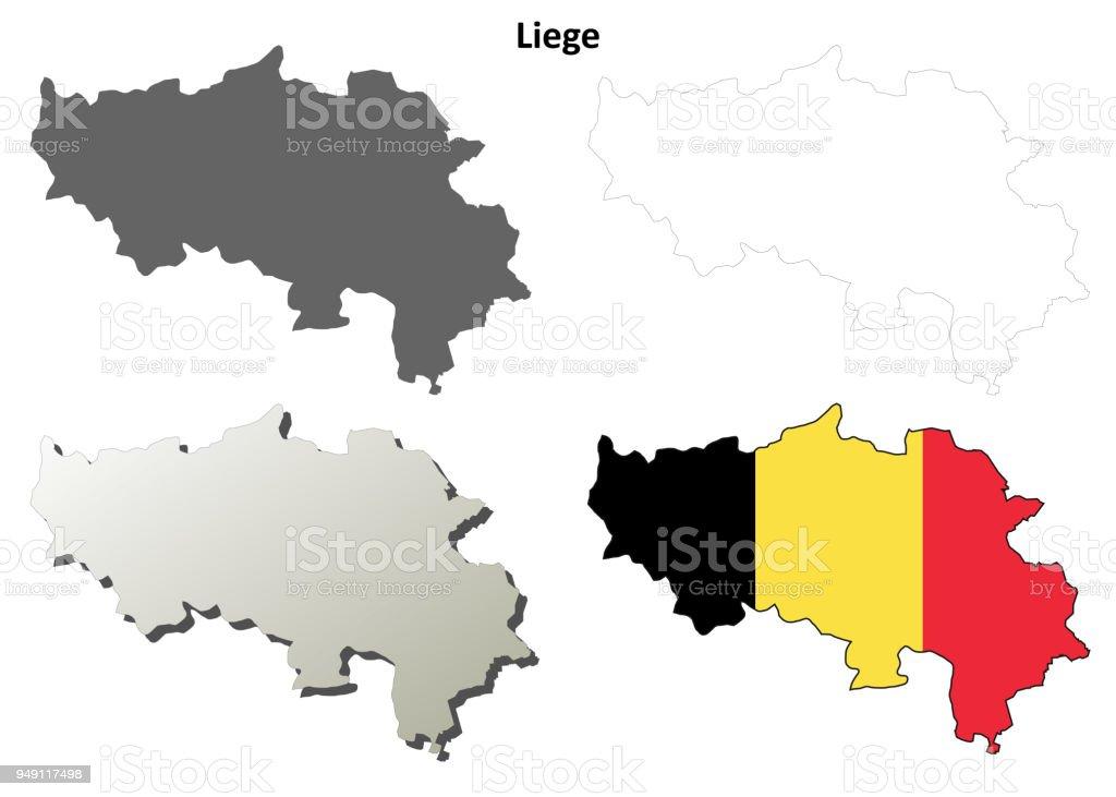 Belgien Karte Umriss.Lüttich Umriss Karte Set Belgische Version Stock Vektor Art Und Mehr