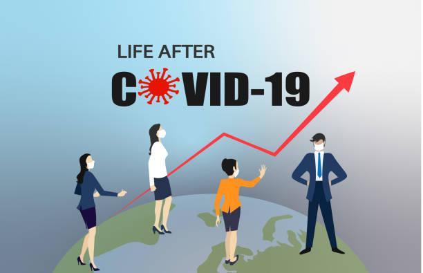 stockillustraties, clipart, cartoons en iconen met leven na covid-19. nieuw normaal concept - new world