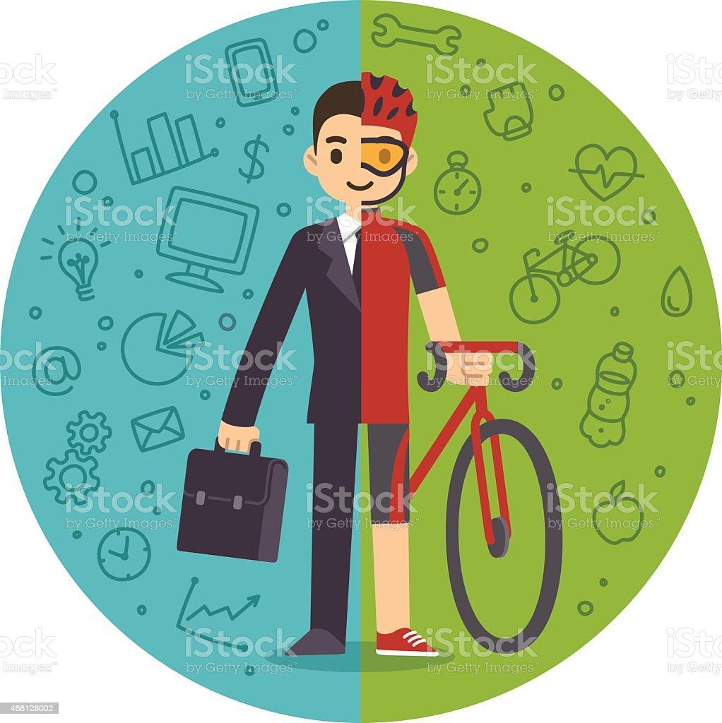 Life and work balance vector art illustration