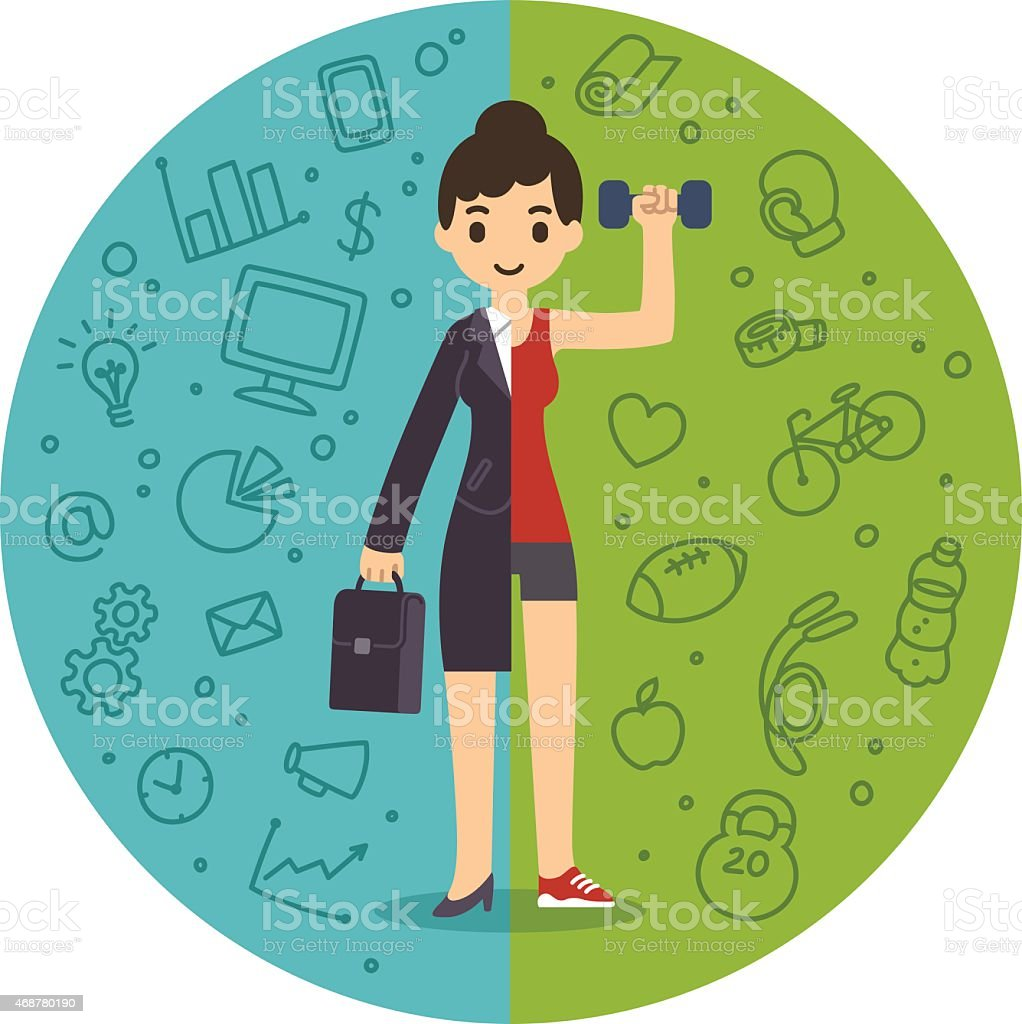 Life and work balance vector art illustration