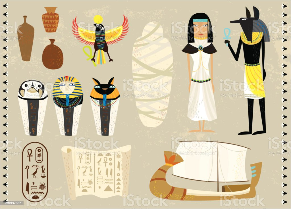 life as an egyptians vector art illustration