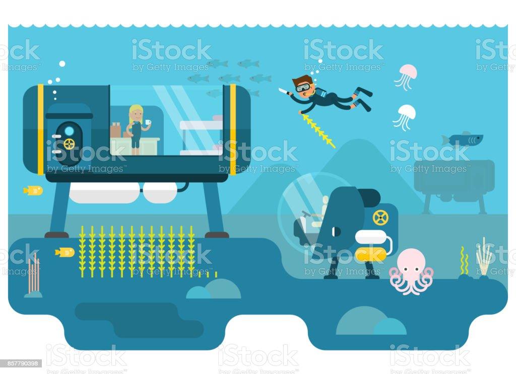 Life below water concept vector art illustration