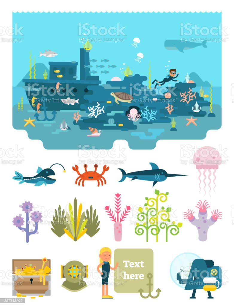 Life below water illustration vector art illustration