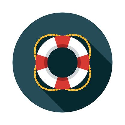 Life Belt Nautical Flat Design Icon