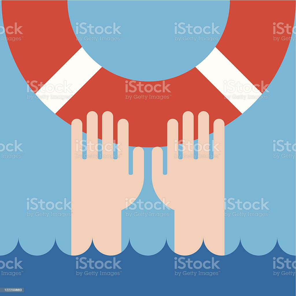 life buoy and hands royalty-free stock vector art
